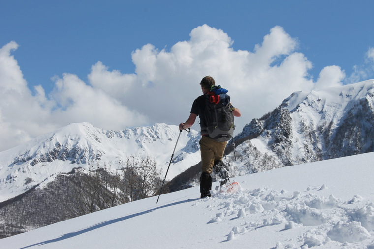 Snowshoeing snowshoe snow walking walk French Pyrenees France